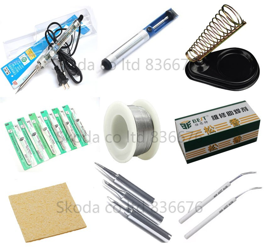 ФОТО free shipping GJ 907 Adjustable Lead-free electric soldering iron sets +2pcs Heating core+3PCS iron tips+Tin wire+tweezers++