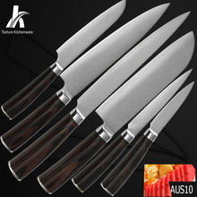 Top selling damascus kitchen knives six-piece set Japanese Aus-10 damascus pattern steel sharp blade kitchenware cooking tools