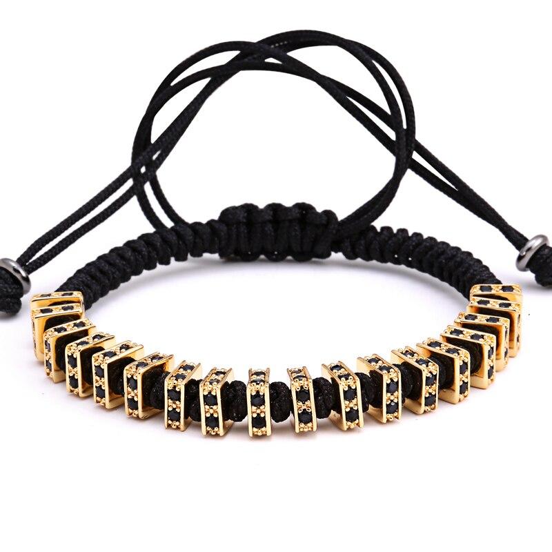 Mcllroy 7MM Rectangle Bead CZ Pave Men Bracelets Bangle Rope Chain Woman Boy Micro Pave Zircon Charms Braiding Macrame
