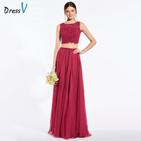 Dressv Red Long Bridesmaid Dress Scoop Neck Sleeveless A Line Lace Two Pieces Button Custom Wedding
