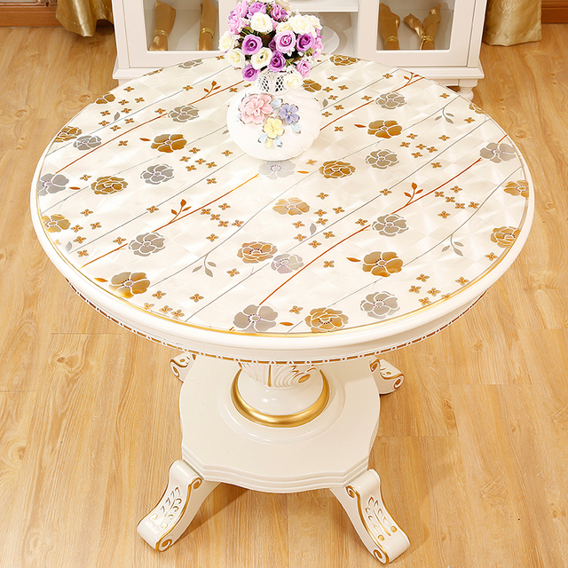 Round Tablecloths Waterproof Oil Proof Pvc Coffee Table Mat Insulation Gold Flower European Plastic Soft 90cm Cover