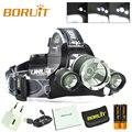 BORUIT RJ-3000 Plus 3x XML T6 LED Micro USB Headlamp Head Light 18650 Torch Lamp With  SOS huntting alarm