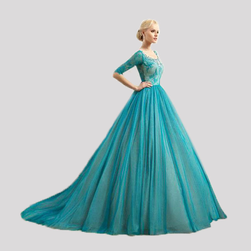 New arrival 2016 scoop neckline half lace sleeves turquoise tulle new arrival 2016 scoop neckline half lace sleeves turquoise tulle wedding dresses lace up back bridal dress gowns in wedding dresses from weddings events junglespirit