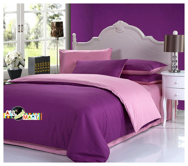 Free Shipping 4pcs Cotton Contrast Color Bedding Set Duvet Cover Comforter Bed Sheet Light Purple And Pink Simple Plain