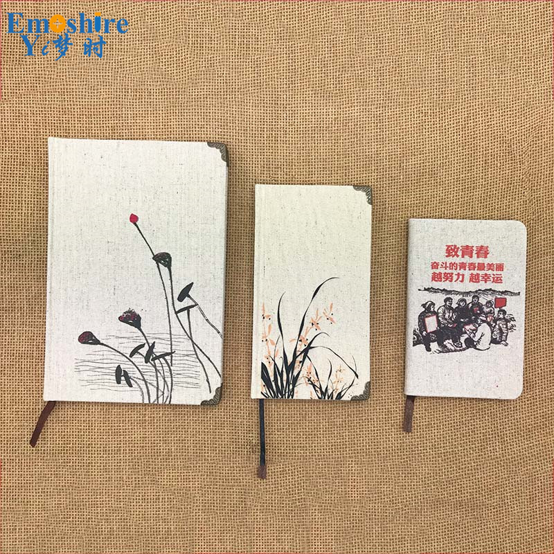 Top Quality New Fashion Burlap Diary Chinese Style Retro Notebook Notebook Pockets Customized Notepad for Business Gifts N166