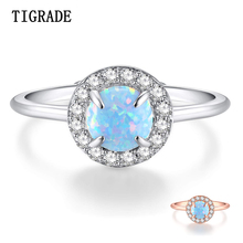 TIGRADE Dazzling Fire Opal Ring for Women 925 Sterling Silver women Resizable Rings Opals Wedding Engagement Jewelry Female venidy female natural resizable opal ring fashion red 925 sterling silver jewelry vintage wedding rings for women birthday stone