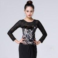 2019 Latin Dance Tops Ladies Long Sleeve Velvet Printed Top Women Salsa Cha Cha Samba Dancing Shirt Latin Practice Wear DNV11158
