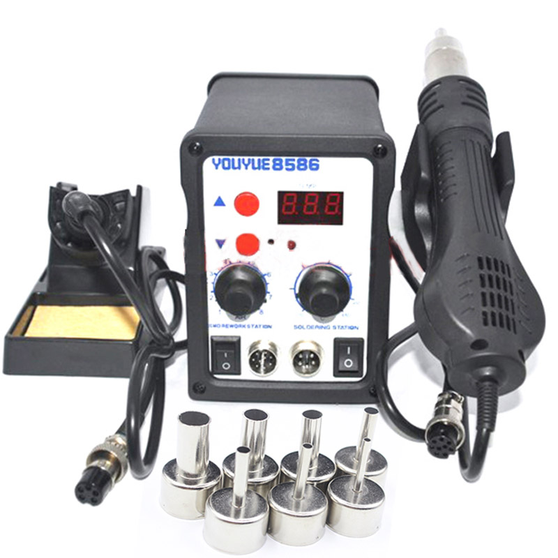 700W Soldering Station 8586 2 in 1 SMD Rework Station Hot Air Gun + Electric Solder iron For Welding Repair Tools Kit 220V/110V 8586 2 in 1 esd soldering station smd rework soldering station hot air gun set kit welding repair tools solder iron 220v 110v