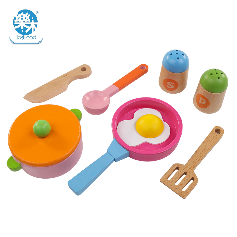 Logwood 8pcs Wooden Children Kitchen Simulation Cookware Toys Pot Tray Education kids Food Toys Girls Gifts