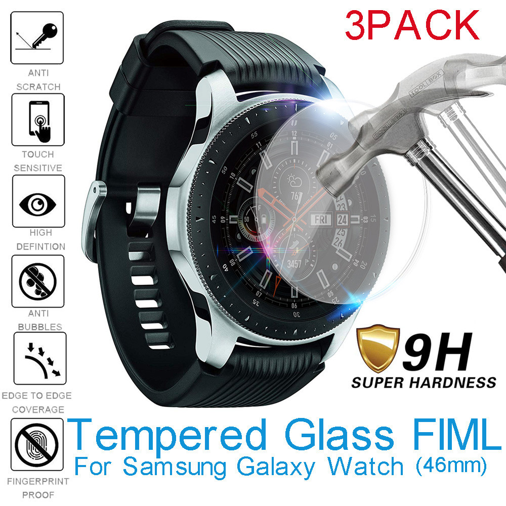 3pcs Tempered Glass Screen Protector For Samsung Galaxy Watch 46mm Protective Glass Bubble Free Easy to Install Scratch Proof(China)