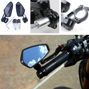 "1 Pair 7/8 ""22mm Universal Motorcycle Aluminum Rear View Black Handle Bar End Side"