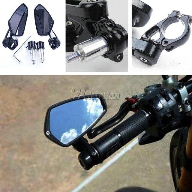 """1 par 7/8 """"22mm Universal Motos Handle Bar End Side Espelhos Retrovisores de Alumínio Vista Traseira Preto"""
