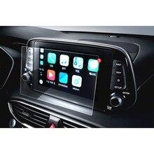 RUIYA ochraniacz ekranu samochodu dla Santa Fe 8 Cal 2019 nawigacja GPS ekran dotykowy wnętrze auta naklejki akcesoria