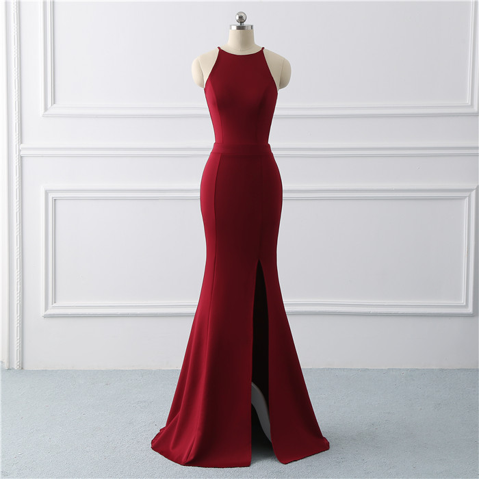 Burgundy sexy evening gown dress  Mermaid prom dress  stretch fabric Long Evening Dresses side slit Prom Dress  vestido de noiva(China)