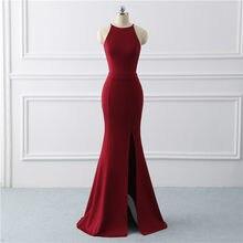 709ffea6e Borgoña sexy vestido de noche vestido sirena vestido de tejido elástico vestidos  noche largo hendidura vestido