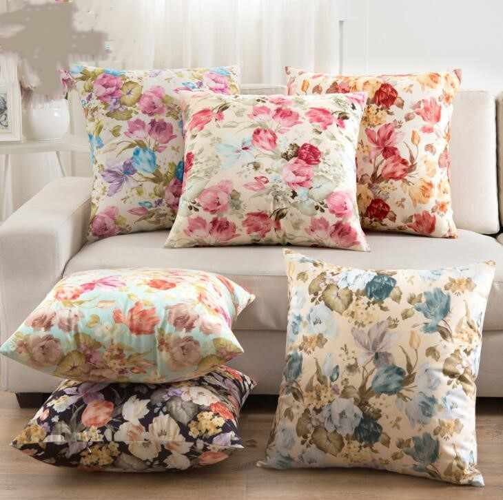Throw Pillow Cover Cases Flowers Pattern Square Pillow Cases 45*45cm Living Room Home Decorative Cushions Cover