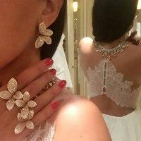 GODKI Brand Butterfly Fashion Popular Luxury Flower Leaf Full Mirco Pave Cubic Zircon Earrings Jewelry For