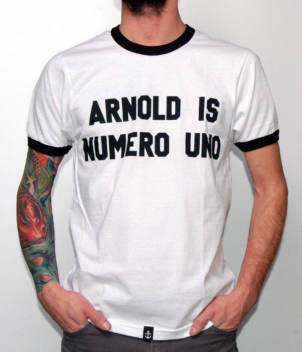 ARNOLD es número UNO camiseta casuales de los hombres de blanco con borde negro camisetas de ropa de moda, camiseta de verano trajes de estilo