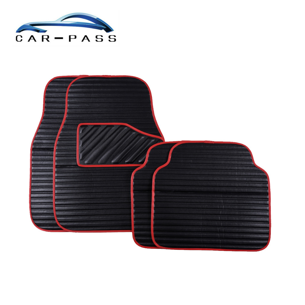 Car Pass Pvc Leather Car Floor Mats Black Red Blue
