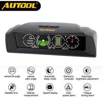 AUTOOL X90 GPS Speed PMH KMH Helling Meter Inclinometer Auto Kompas Autos HUD Pitch Tilt Hoek Gradenboog Klok Latitude Longitude
