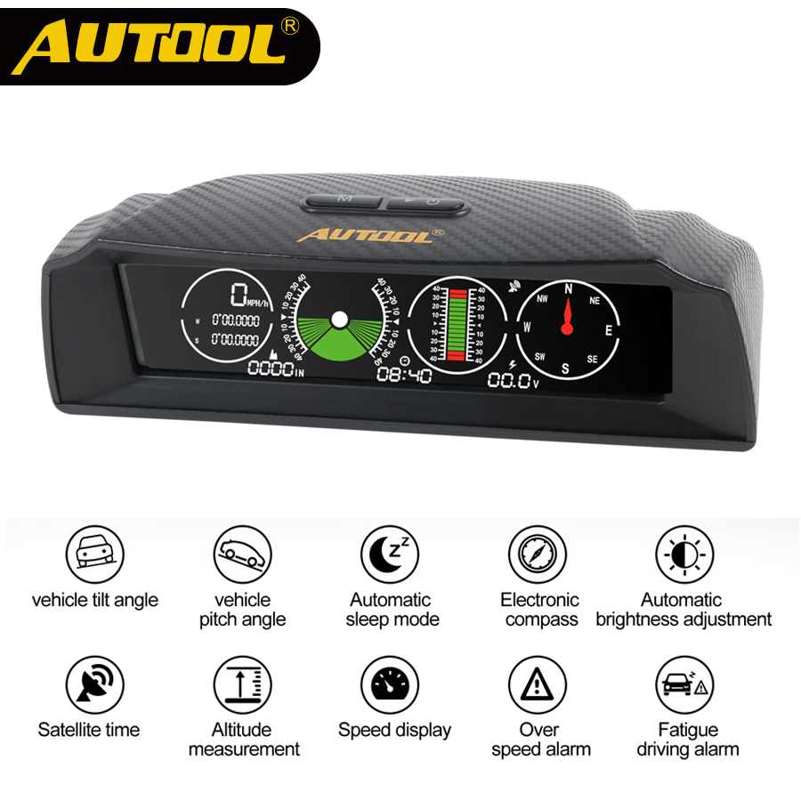 AUTOOL X90 GPS Speed PMH KMH Slope Meter Inclinometer Car Compass Autos HUD Pitch Tilt Angle Protractor Clock Latitude Longitude