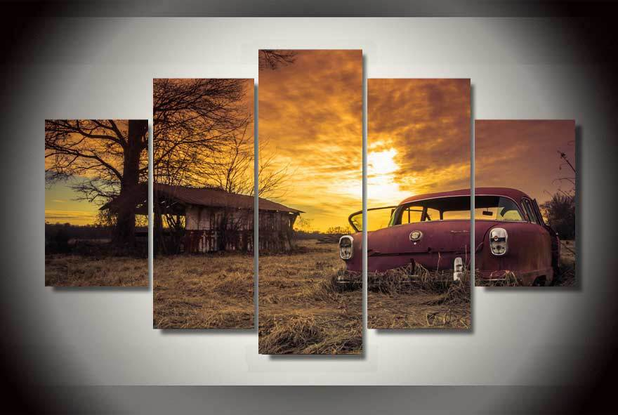 Framed Printed abandoned car rusty sliders Painting on
