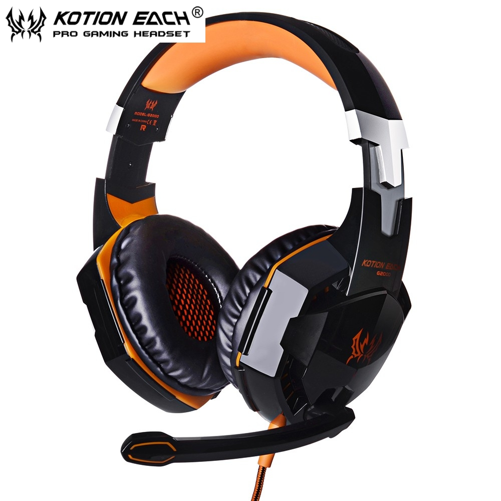 EACH G2000 Deep Bass Game headphones for PC Stereo Surrounded Over-Ear Gaming Headset Headband Earphone with Light for Computer 3 5mm universal gaming over ear headset earphones computer game headphones with microphone for gamer stereo bass for computer pc