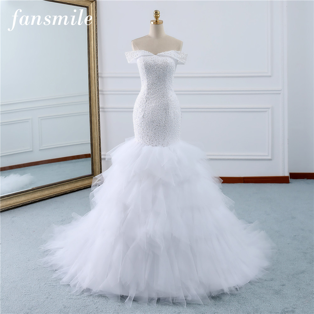 Fansmile Beading Vintage Lace Gowns Mermaid Wedding Dress Plus Size 2019 Long Train Custom made Bridal