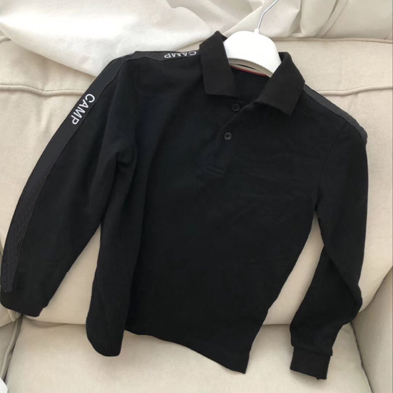 kid polo shirts black long sleeve cotton polo for children boys autumn breathable clothes