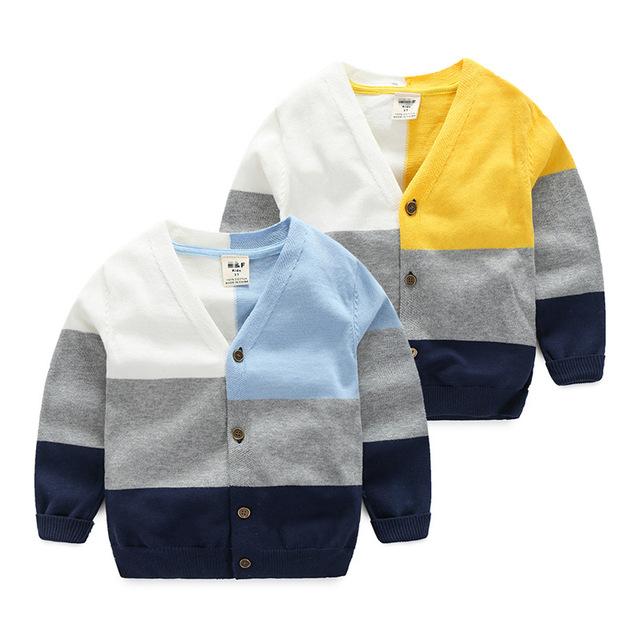 Meninos da criança Camisola Camisolas do Casaco de Algodão Xadrez De Manga Comprida Bebê Menino Moda Malha Meninos Cardigan para o Outono