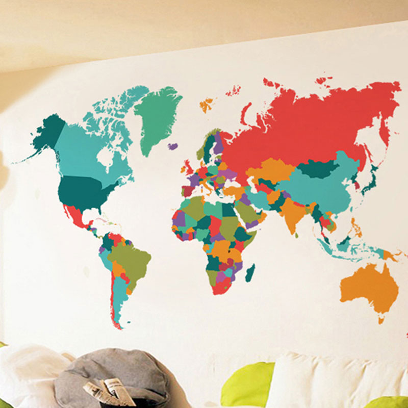 Color world map wall sticker living room bedroom home decor pvc color world map wall sticker living room bedroom home decor pvc wall sticker import large size self adhesive mural naklejki in wall stickers from home gumiabroncs