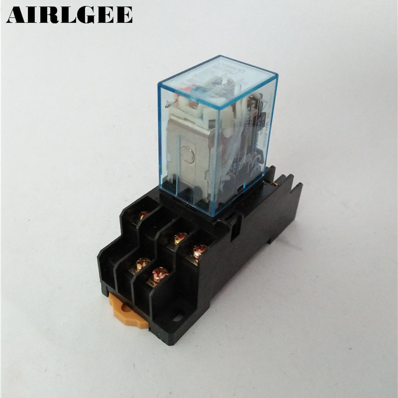 AC6V AC220 DC12V DC24V Coil 11 Pin DIN Rail Electromagnetic Power Relay MY3J w Base Socket Free Shipping 3 pcs din rail mounting plastic relay socket base holder for 8 pin relay pyf08a