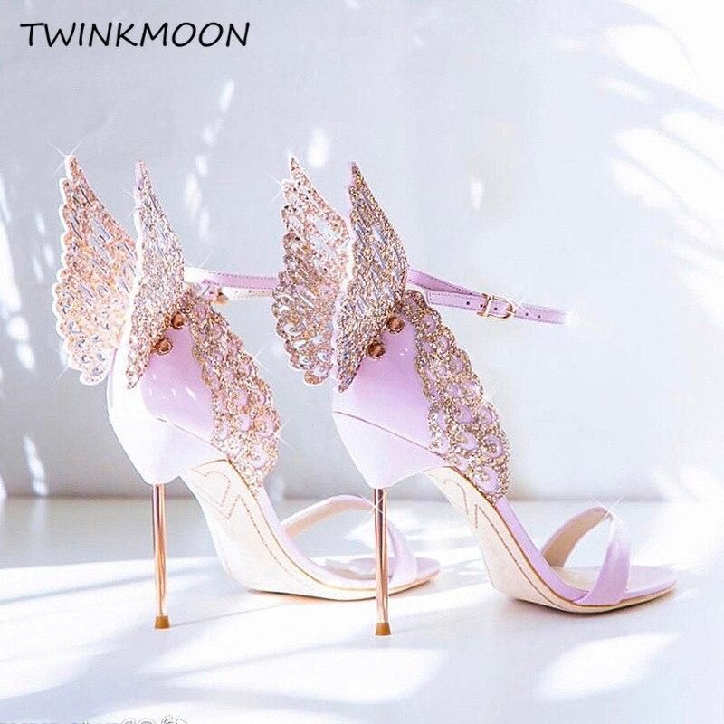 ハイエンド女性ピンク蝶サンダル金属スチレットヒールのメタリックカットアウトパンプスケバケバクリスタル有名人のウェディング靴  グループ上の 靴 からの ハイヒール の中 1