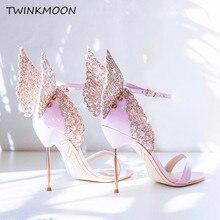 하이 엔드 여성 핑크 나비 샌들 금속 스틸 레토 힐 메탈릭 컷 아웃 펌프 bling bling crystal celebrity wedding shoes