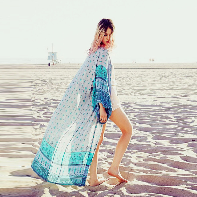 FORERUN mujer Kimono largo playa Kimono Cardigan suelta impresión Batween manga gasa cubierta Ups impresión Tops verano