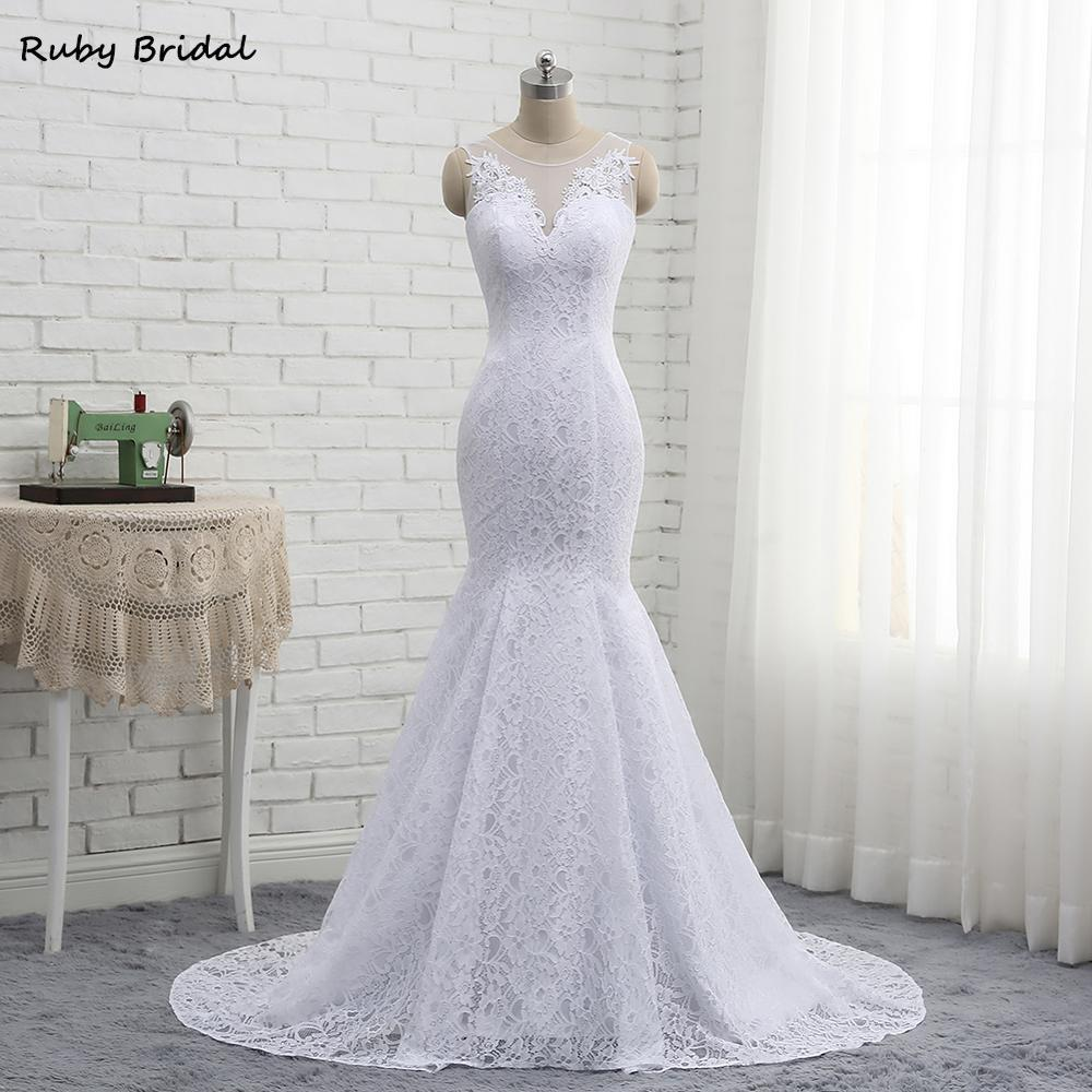 2019 New Arrival Long Vestidos De Noiva Mermaid Lace Wedding Dresses Free Shipping Cheap Wedding Party Gown PW1903