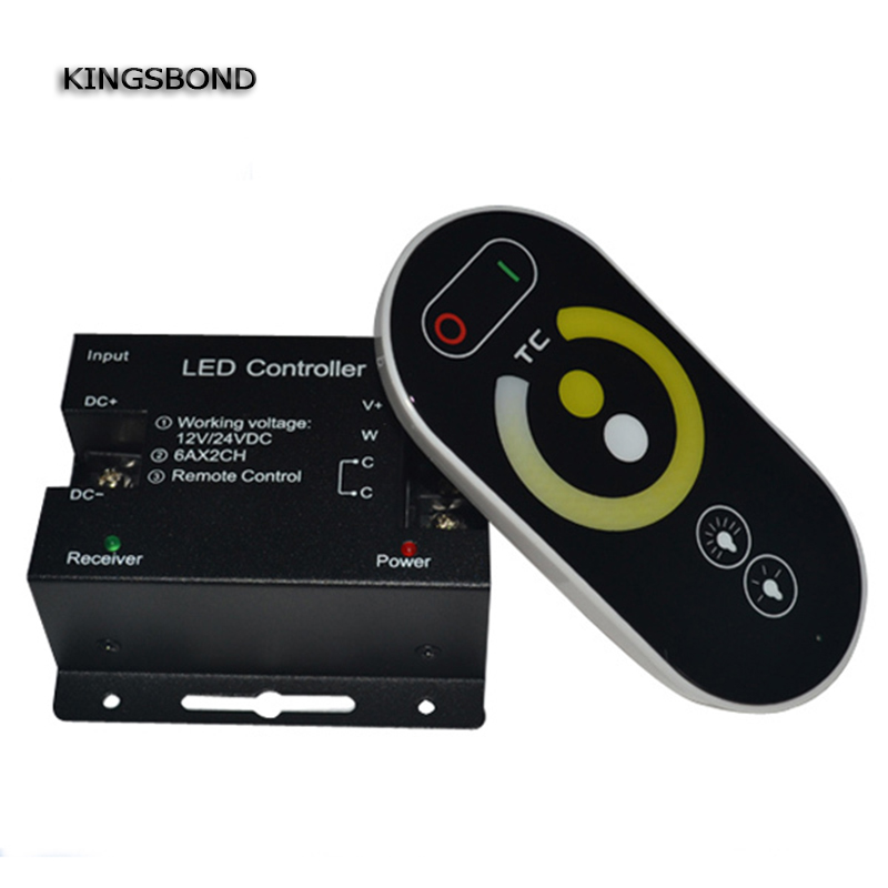 DC 12V 24V CT controller <font><b>dimmer</b></font> color temperature dual white controller <font><b>remote</b></font> controller for 5050 5630 3528 <font><b>led</b></font> <font><b>strip</b></font> light image