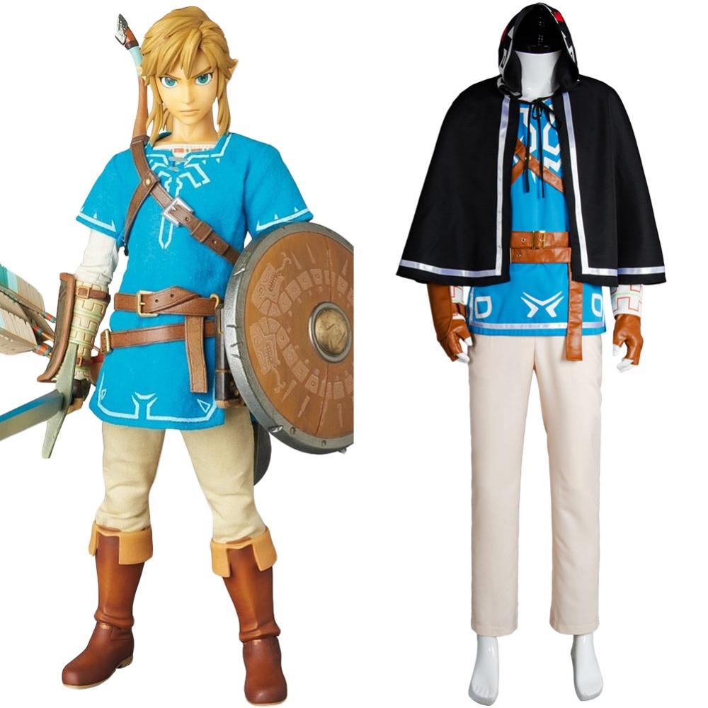 The Legend of Zelda: Breath of the Wild Link Uniform Cosplay Costume Outfit Suit Pants Shirt Coat Bracers Gloves Strap Belts*2