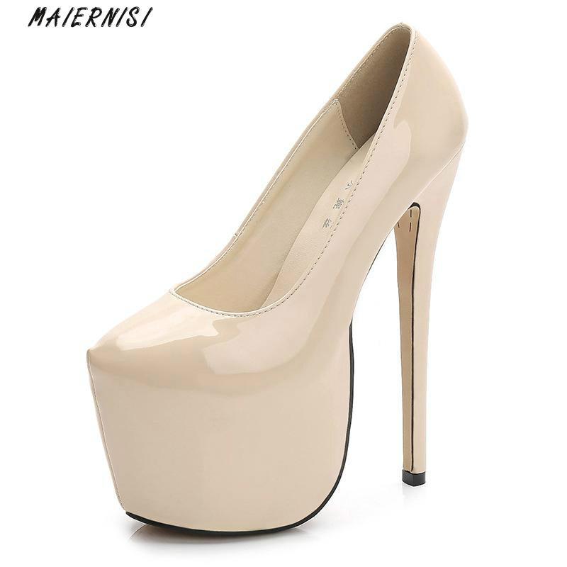 цены MAIERNISI High Heels Platform Super High (18cm) Sexy Pumps Brand Women Shoes Round Toe Lady Shoes Thin Heels Ladies Shoes 2018