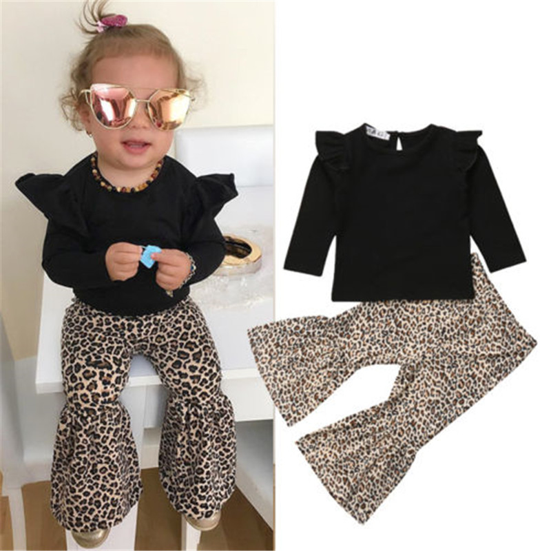 b0f95249672b Toddler Kids Baby Girls clothes Ruffle long sleeve round neck pullover Tops  Leopard print Flared Pants