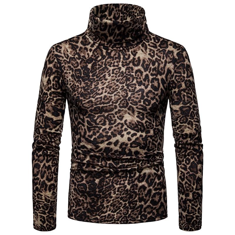 Sweater Men Turtleneck Fleece Leopard Pullover Knitwear Long-Sleeve Autumn Men's Winter