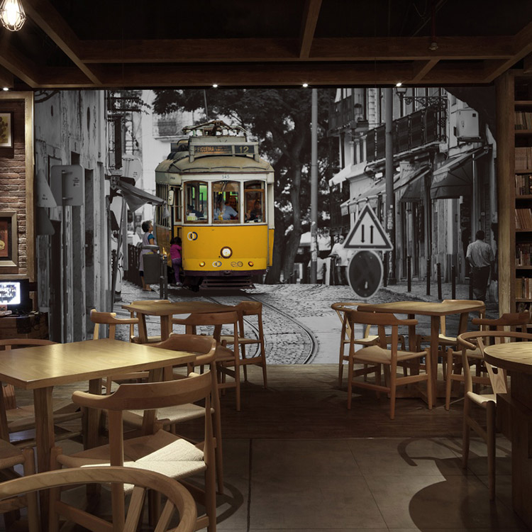 3D photo wallpaper 3D Hong Kong style retro nostalgia building Street bus bar lounge restaurant tea shop large mural wallpaper нож кухонный универсальный 150 мм samura harakiri shr 0023w