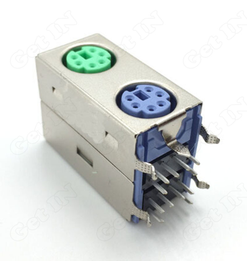 MDC Terminal Serial Port Dual PS2-6P Female Socket Connector 90Degree 6Pins Shielded Connectors