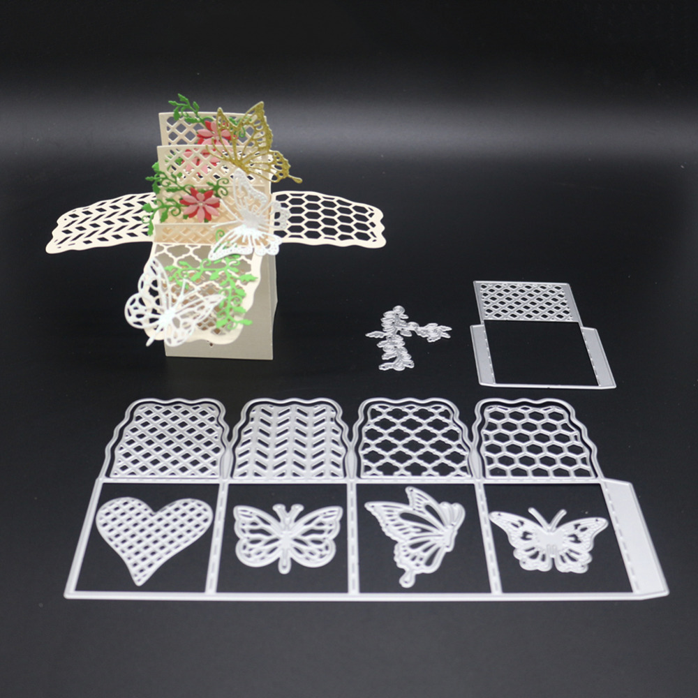 New Carbon steel Embossing Template Butterfly Box Sharp Cutting Die ...