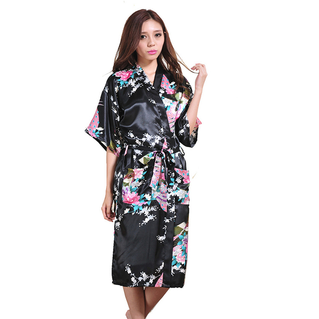 Women Silk Satin Long Wedding Bride Bridesmaid Robe Peacock Bathrobe Floral Kimono  Robe Large Size Dressing faf03db6f