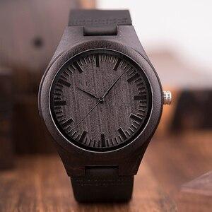 Image 4 - ボボ鳥 WD26 メンズデザインブランドの高級黒木製腕時計本革クォーツ時計男性ナチュラル黒檀ドロップ無料