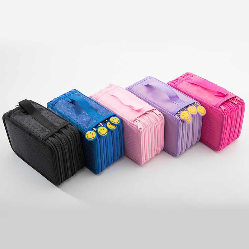 School Pencil Case 72 Holes 4 Layers Penal Pencilcase Kawaii Cute Smile Large Pen Bag for Boy Girls Stationery Box Pouch Handbag