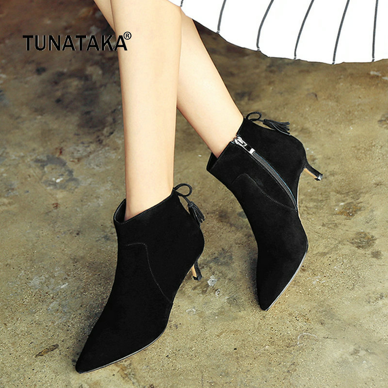 все цены на Suede Comfort Thin Heel Pointed Toe Woman Ankle Boots Fashion Fringe Zipper Dress Shoes Woman Black Red
