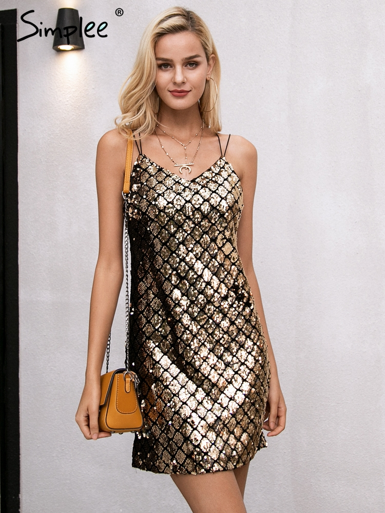 Simplee Strap Backless Sequin Winter Dress Women Sexy Club