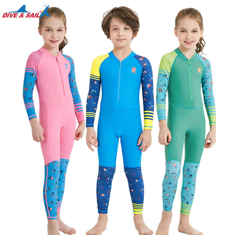 273d925431af Dive Sail One Piece Swimsuit Long Sleeve UPF 50+ Kids Diving Rash Guard  Swimwear For